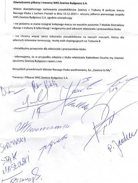 Oświadczenie piłkarzy i trenerów Zawiszy