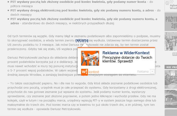 screeny formatów reklamowych w wersji orange